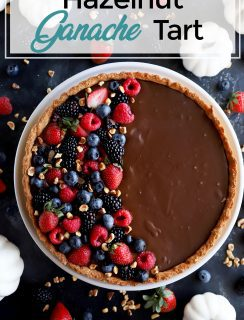 Pinterest image for hazelnut ganache tart