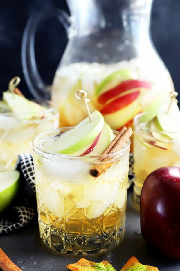 Photo of apple pie sparkling sangria in a rocks glass