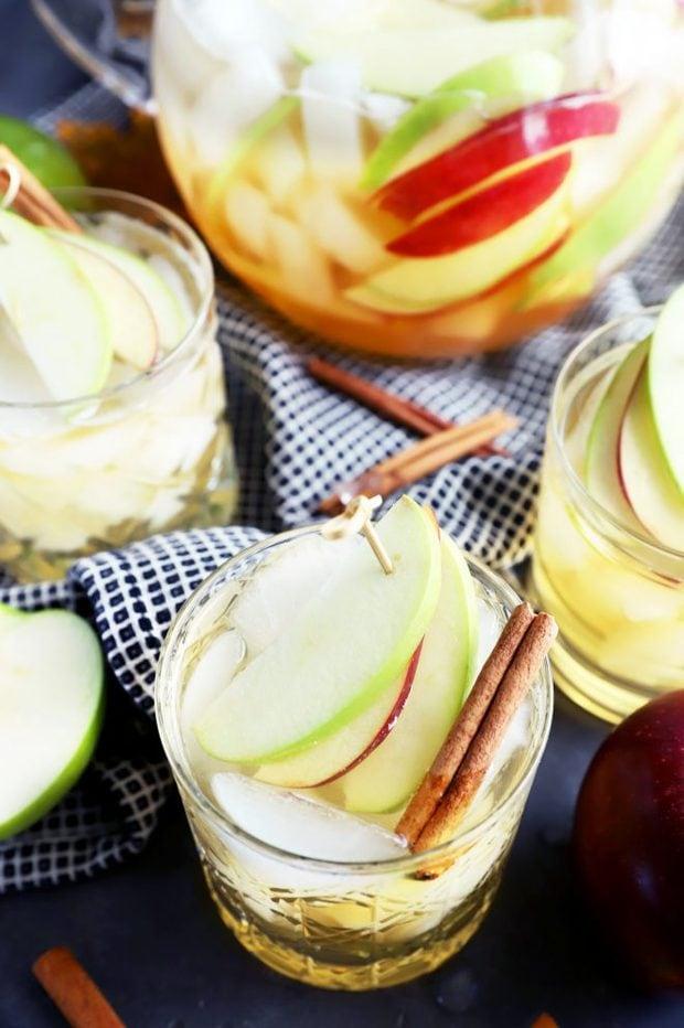 Glasses of white sangria for Thanksgiving