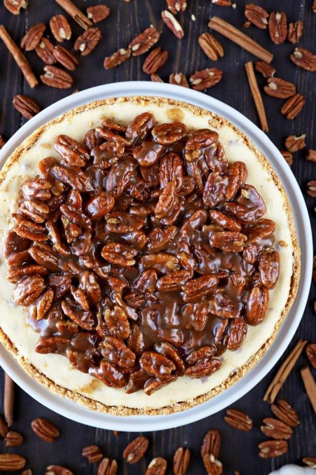 Overhead photo of pecan pie cheesecake
