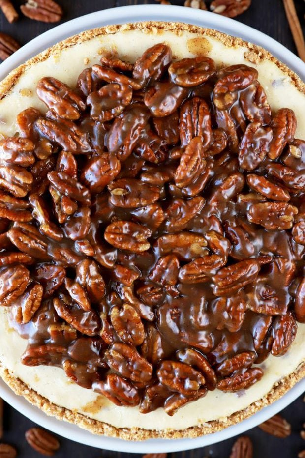 Thanksgiving cheesecake with pecans