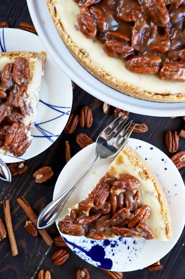 Slices of cheesecake with pecans