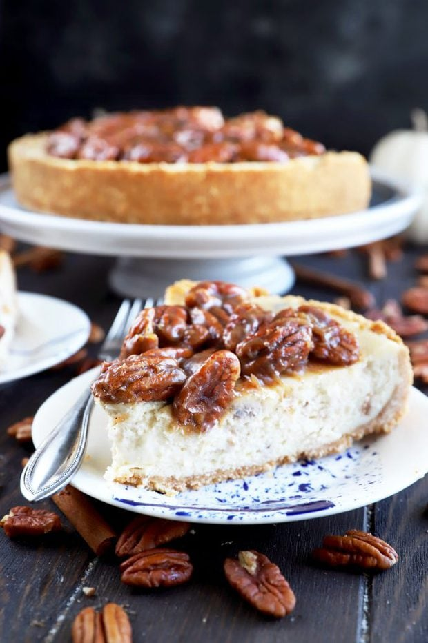 Photo of a slice of pecan pie cheesecake