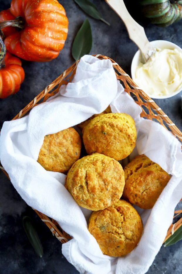 Overhead photo of pumpkin sage biscuits