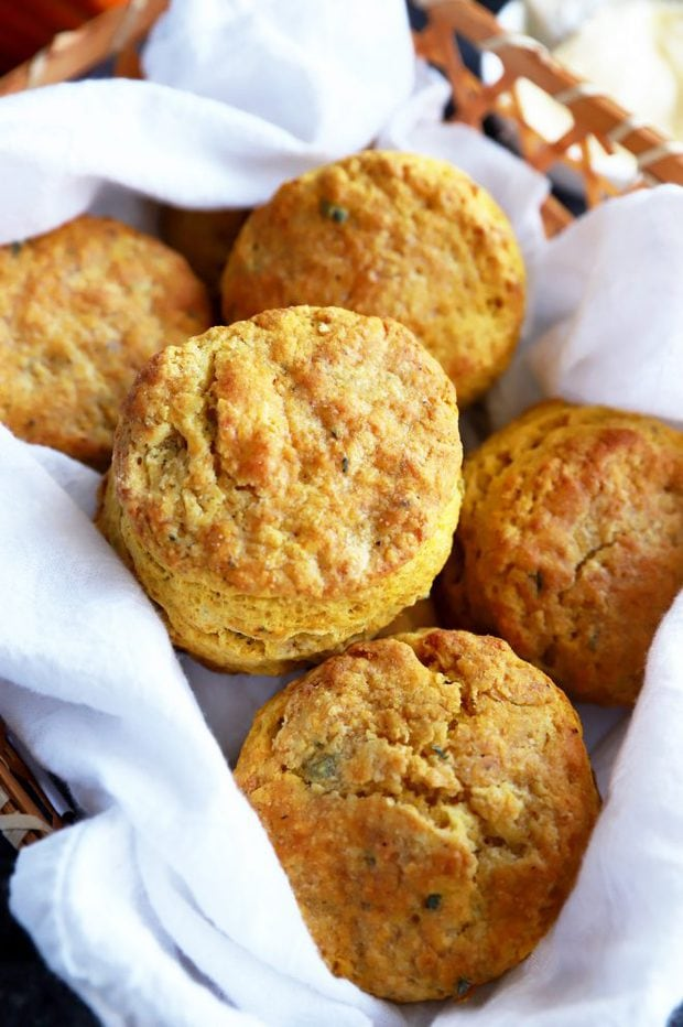 A basket of baked buttermilk biscuits