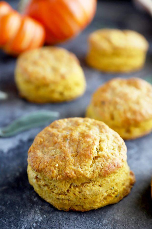 Pumpkin sage biscuits with fresh sage leaves photo