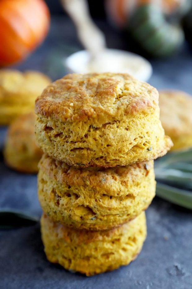 Stacked up pumpkin sage biscuits