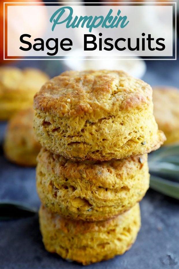 Pinterest image of pumpkin sage biscuits