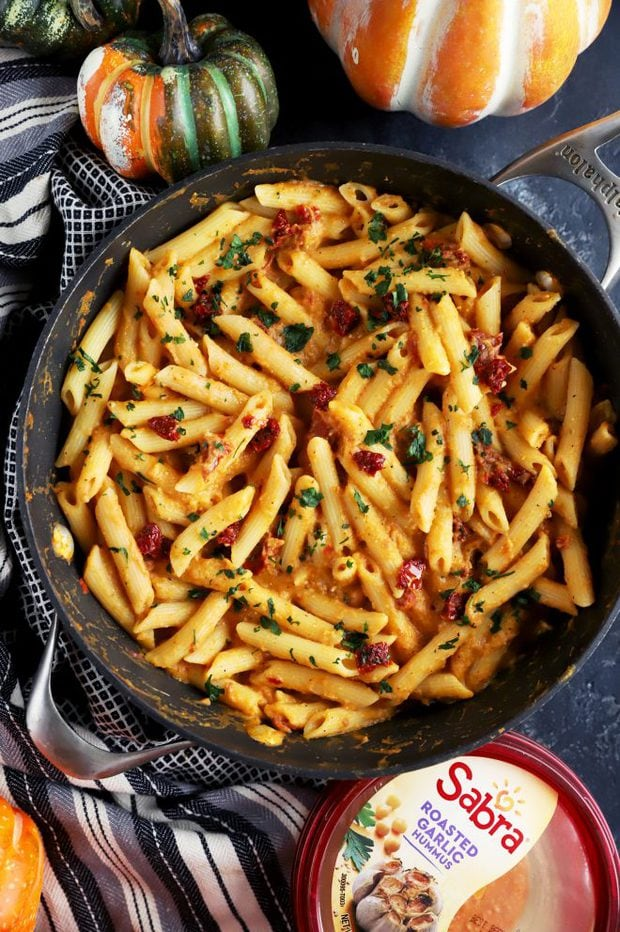 Sabra hummus in a pasta skillet overhead photo