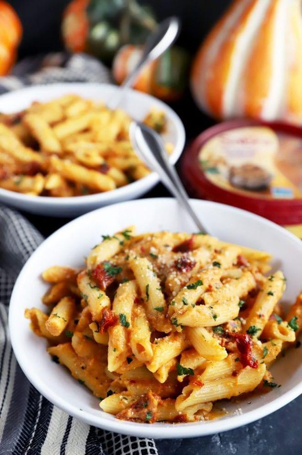 Pasta in white bowls for an easy dinner