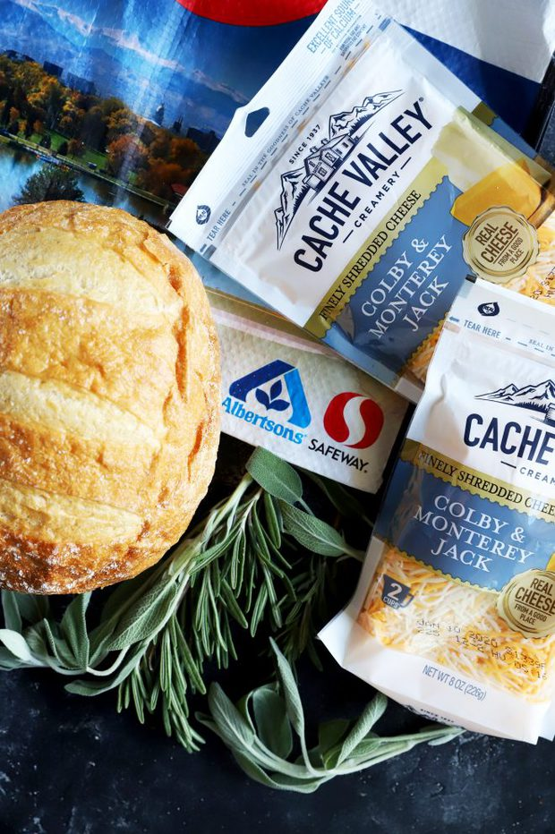 Ingredients for holiday dip with Cache Valley Cheese