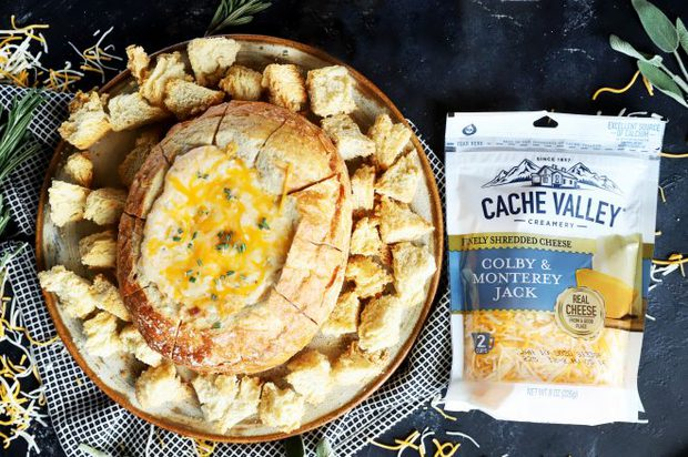 Cache Valley cheese dip in bread bowl