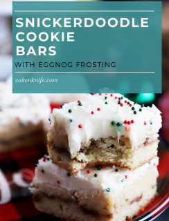 Pinterest image for snickerdoodle cookie bars
