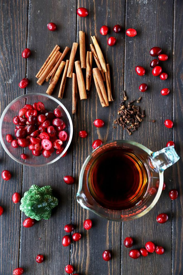 Ingredients for a Cranberry Spice Manhattan Cocktail photo