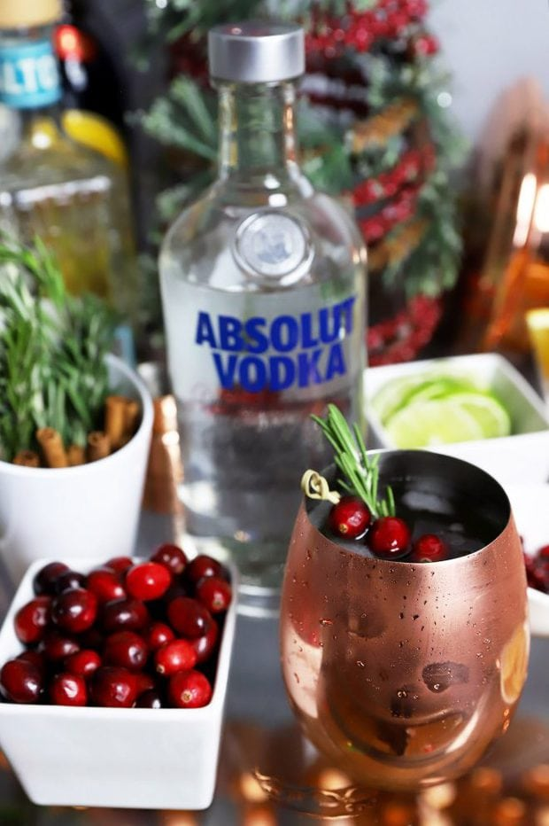 Classic Moscow mule on a bar cart