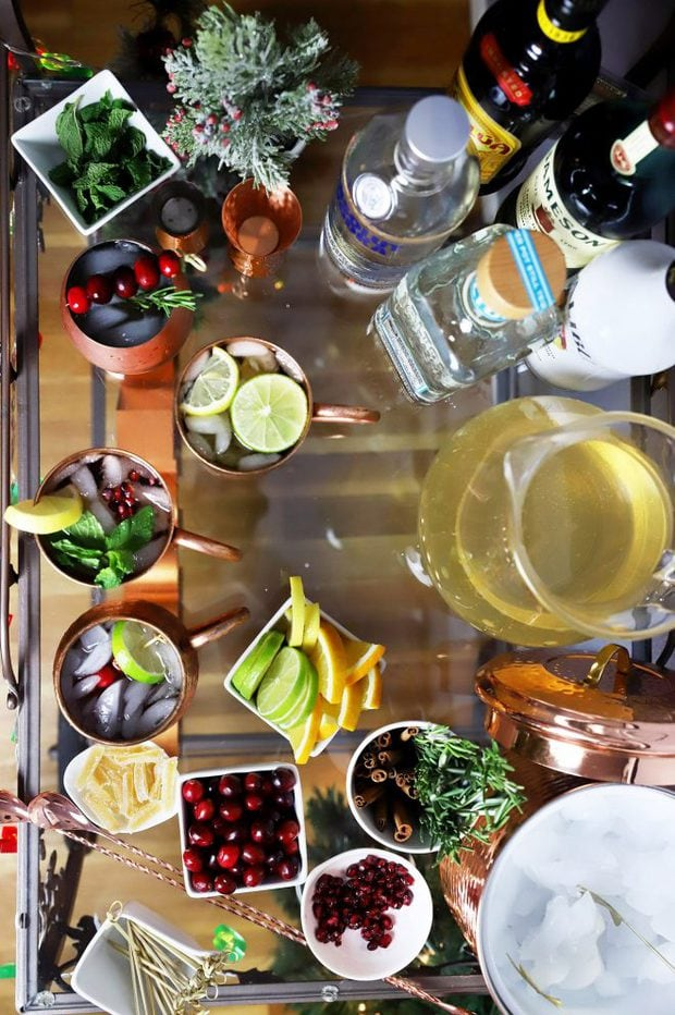 Overhead photo of a festive Moscow mule cart