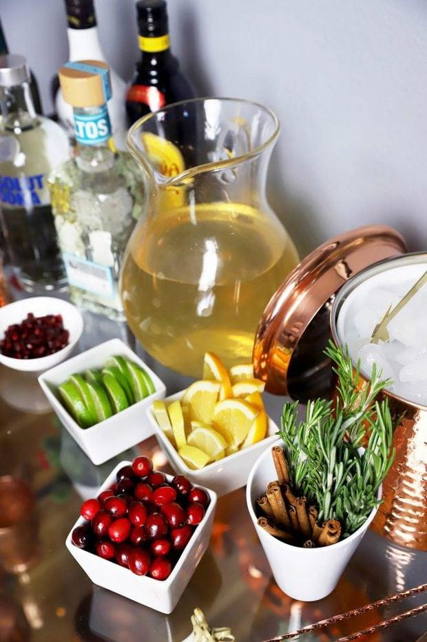 Garnish on a bar cart for the holidays