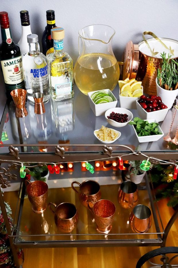 Festive mule bar cart for parties