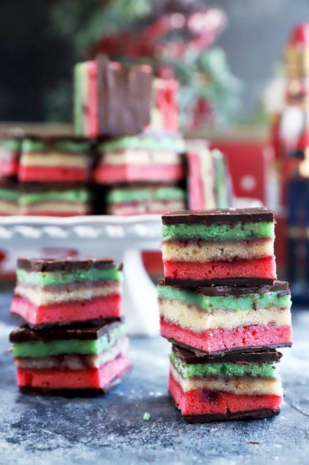 Italian Rainbow Cookies stacked up photo