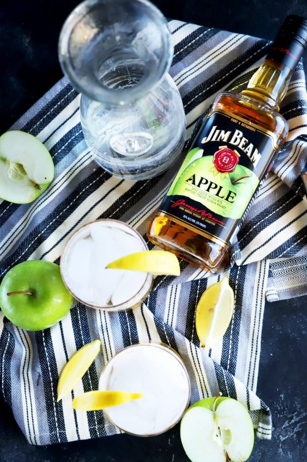 Overhead photo of Jim Beam Apple and Soda cocktails