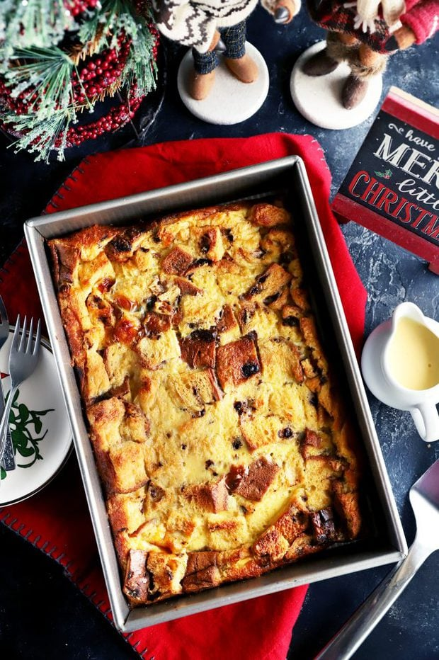 Overhead photo of panettone bread pudding in pan
