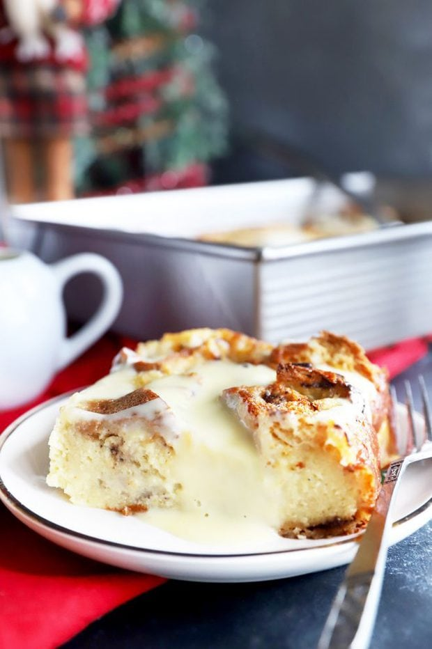 Side photo of a slice of panettone bread pudding
