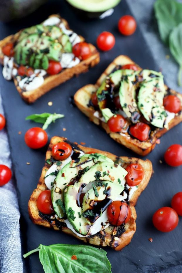 Open faced sandwiches photo
