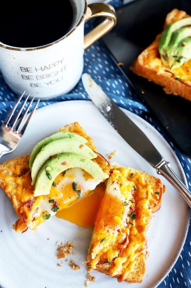 Runny egg photo breakfast