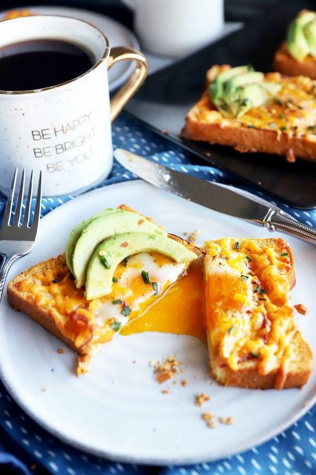 Runny egg yolk in bread picture