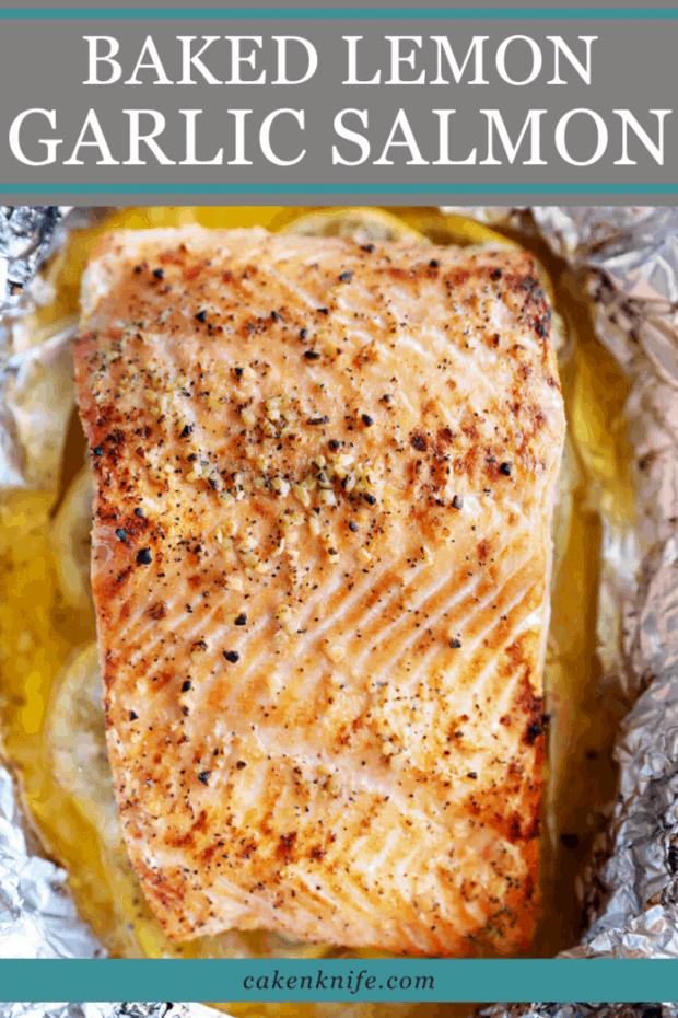 Baked Lemon Garlic Salmon Pinterest Image