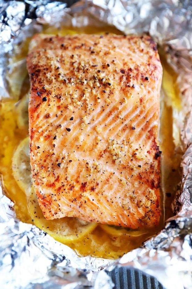 Lemon garlic salmon baked in foil photo