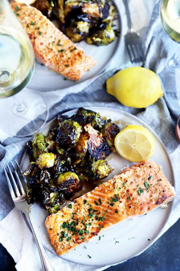 Salmon on a plate with sprouts image