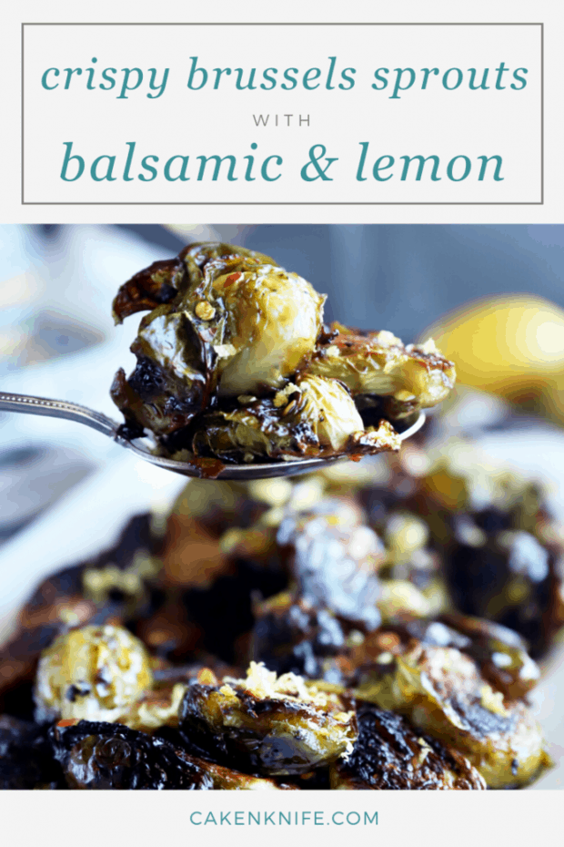 Brussels sprouts with balsamic Pinterest image