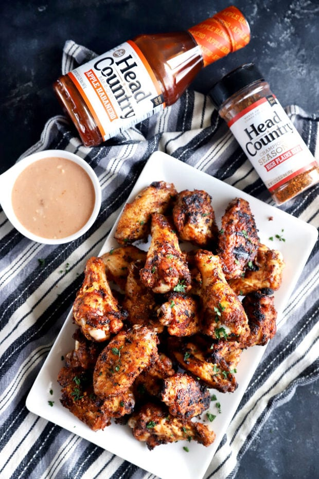 Overhead photo of grilled chicken wings