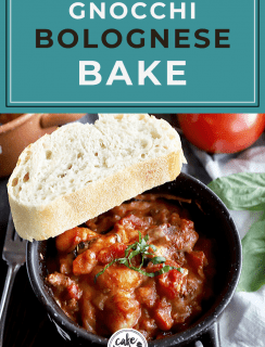 Bolognese bake with gnocchi Pinterest image