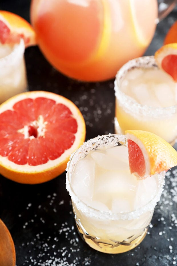 Overhead photo of grapefruit cocktail in glasses