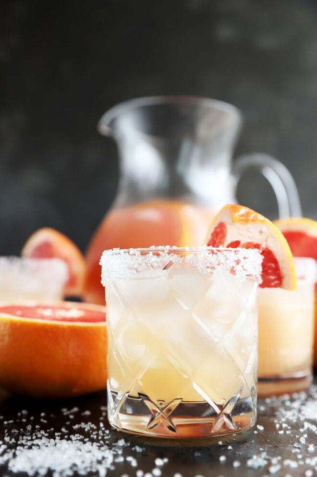 Side image of mezcal cocktail in a glass