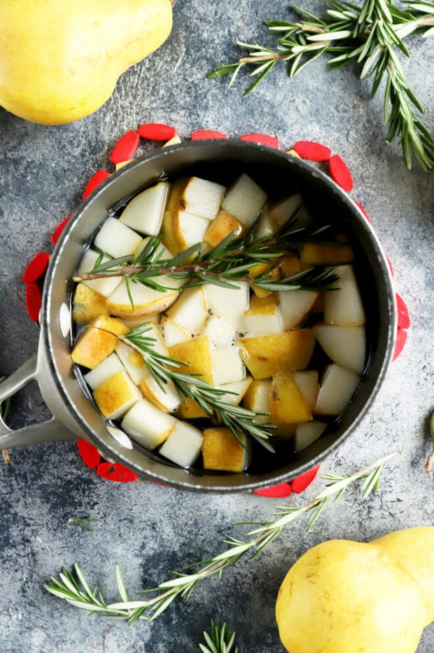 Pear rosemary simple syrup in a pan picture