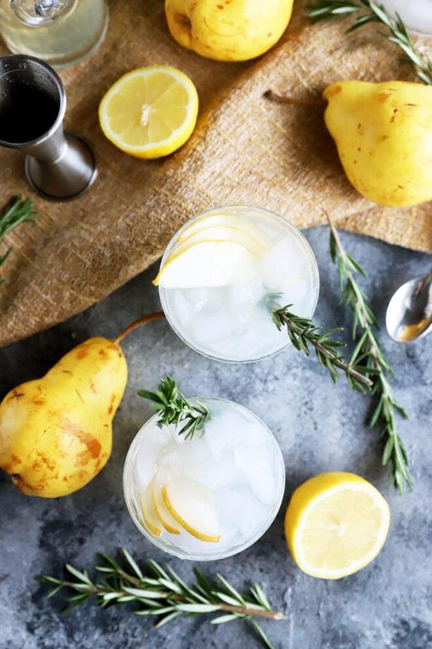 Overhead photo of pear rosemary gin and tonics