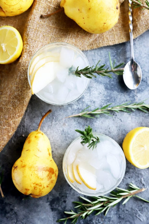 Photo of cocktails with rosemary and pear