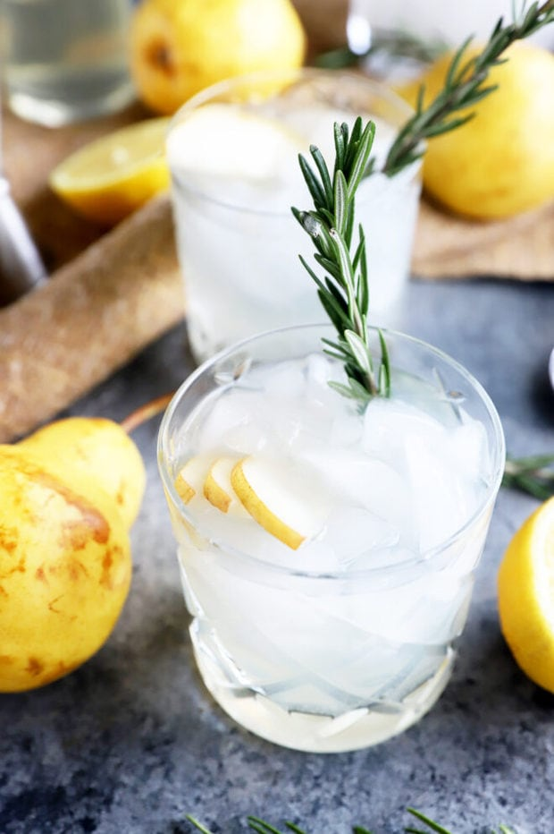 Pear rosemary gin and tonic photo