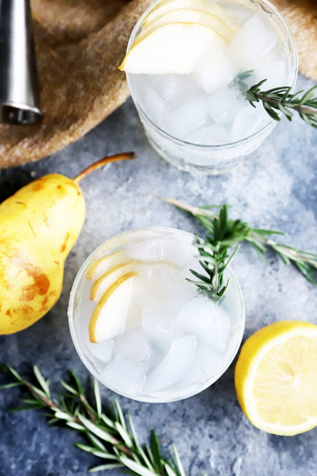 Photo of pear rosemary cocktails