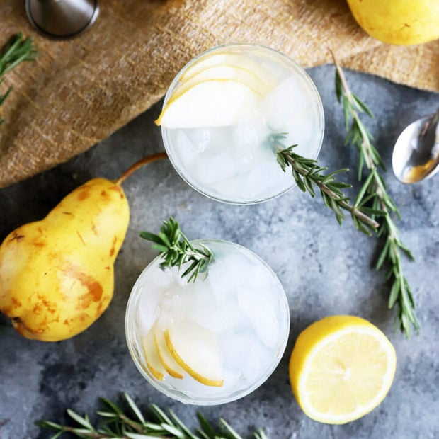 Pear Rosemary Gin and Tonic