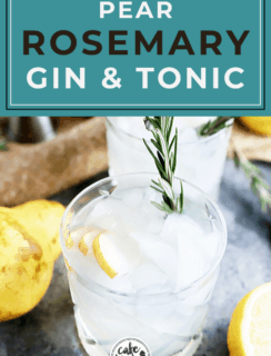 Pear rosemary gin and tonic Pinterest image