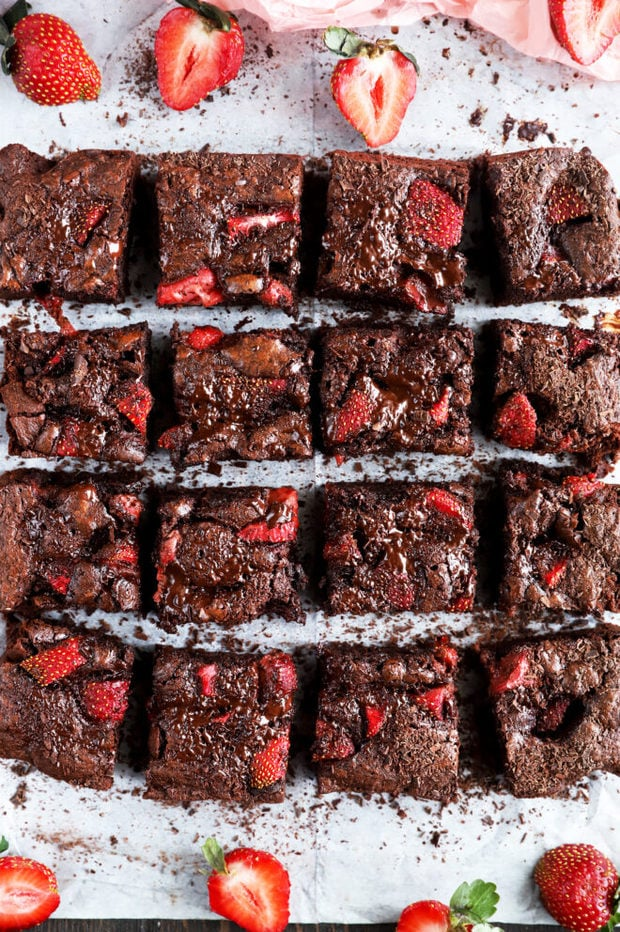 Overhead photo of chocolate strawberry brownies