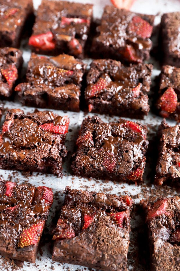Chocolate brownies with strawberry picture