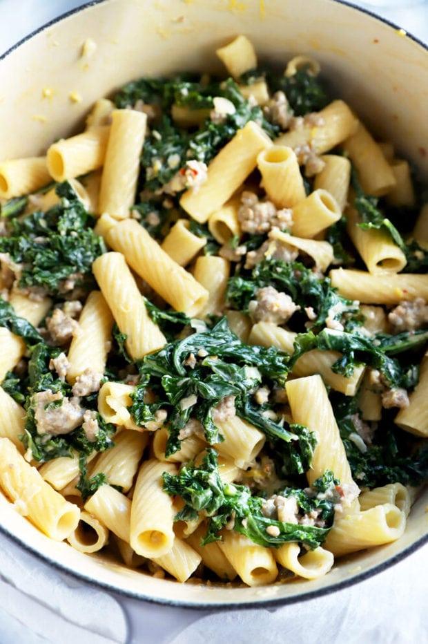 Kale rigatoni pasta in a large pot