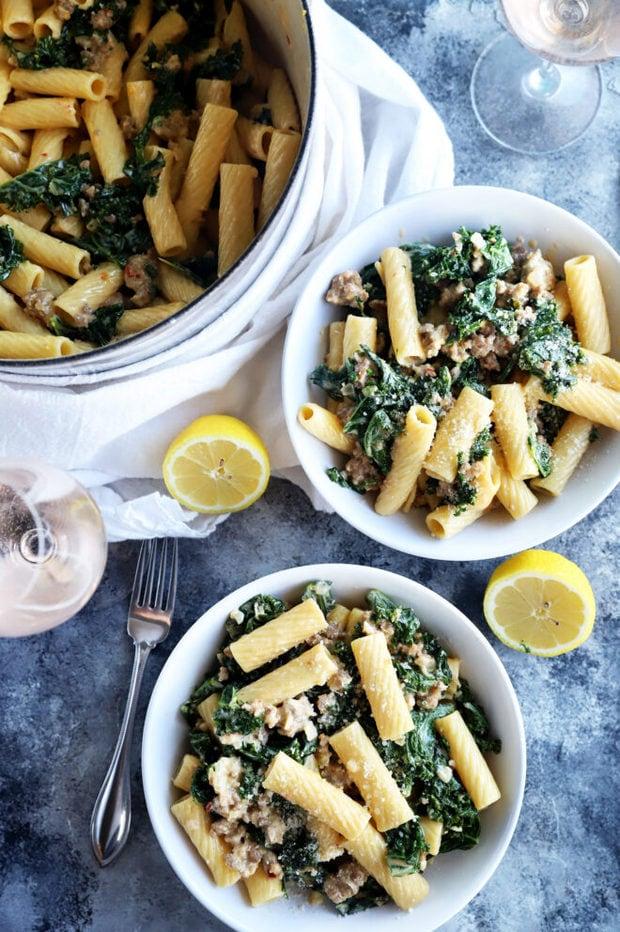 Rigatoni pasta in bowls with lemon photo