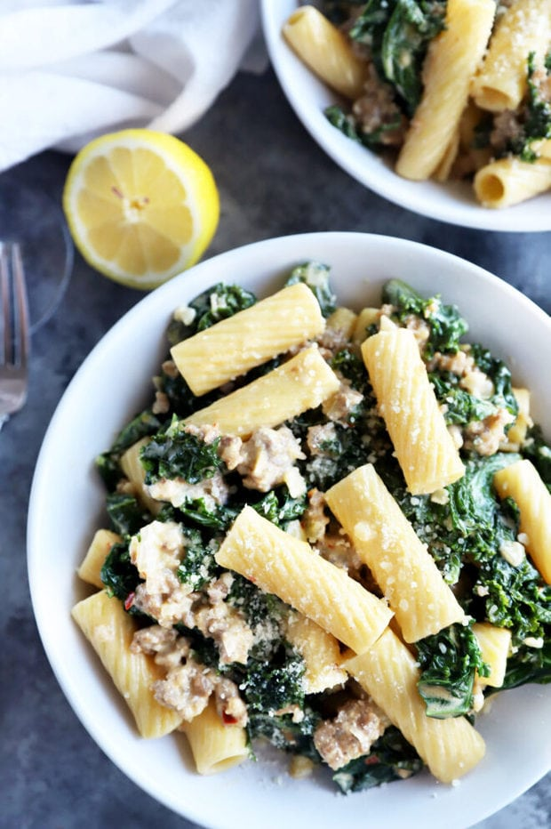 Kale sausage pasta in a bowl picture