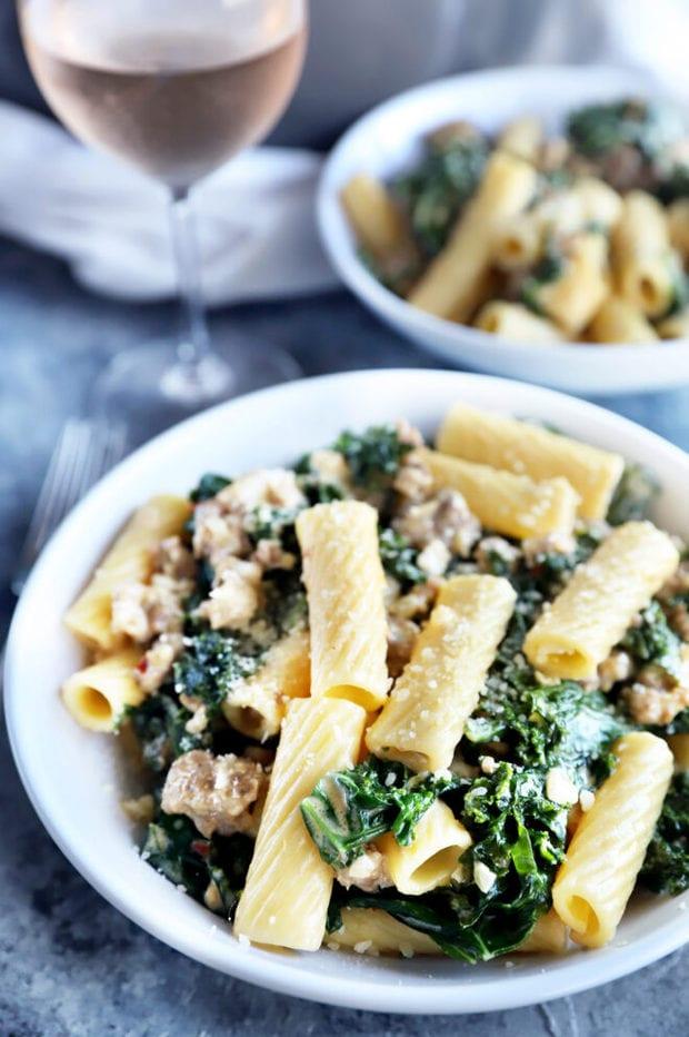 Side photo of kale rigatoni pasta